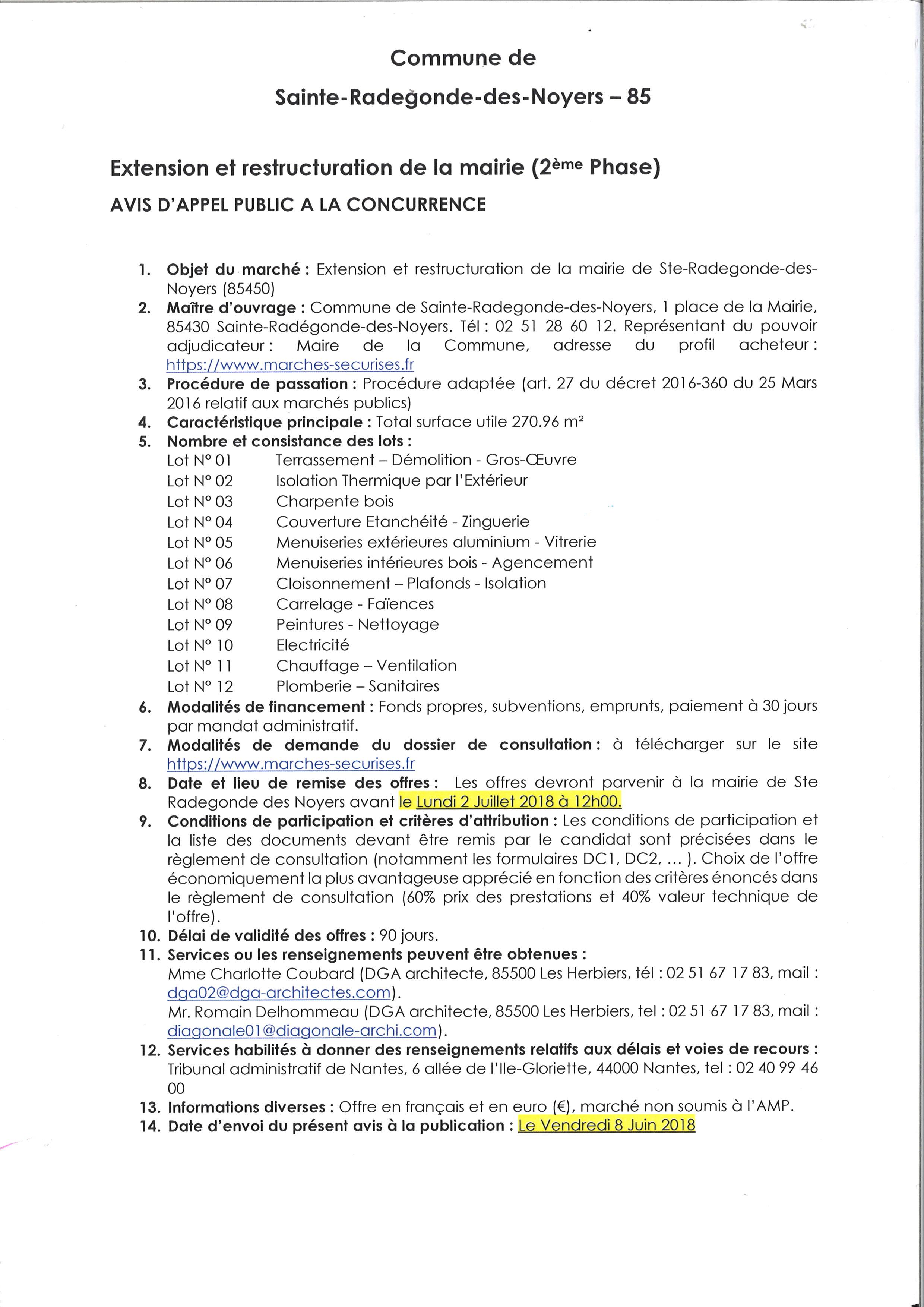 Appel D'offres Extension et rénovation de la Mairie
